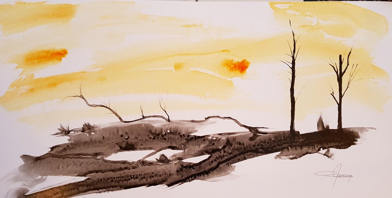 Martial Perrucon - lever de soleil sur la campagne.